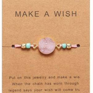 3/$25 SALE Pink druzy bracelet adjustable Boho